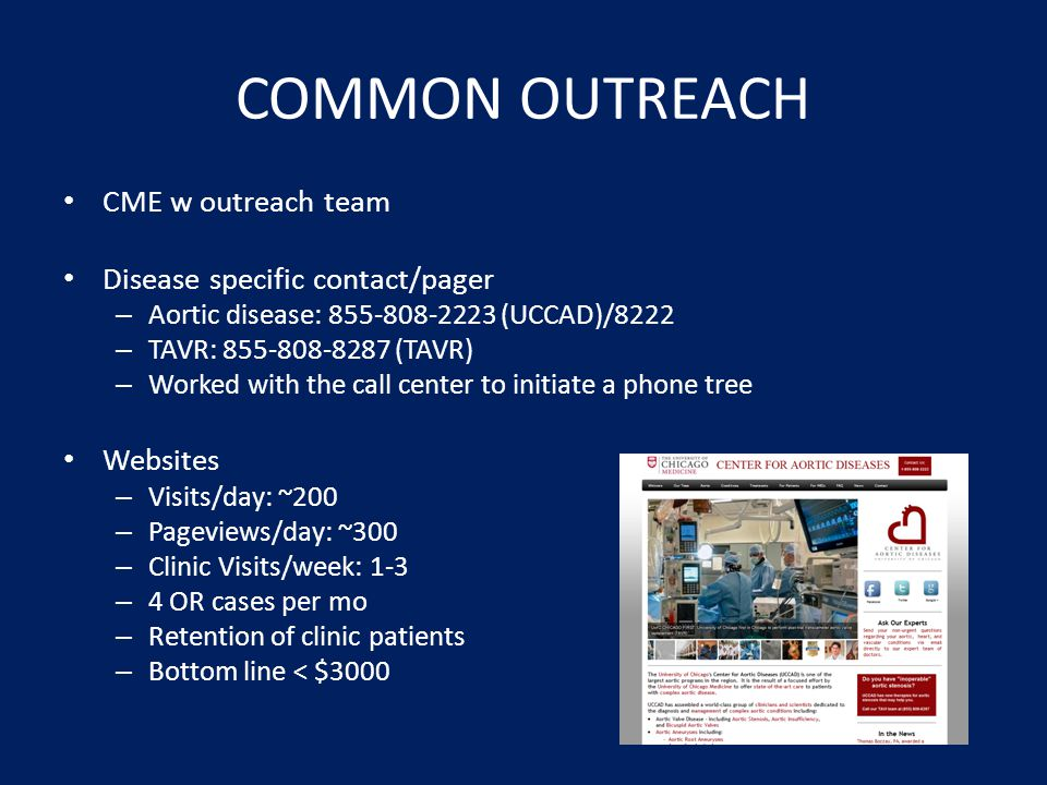 COMMON OUTREACH CME w outreach team Disease specific contact/pager