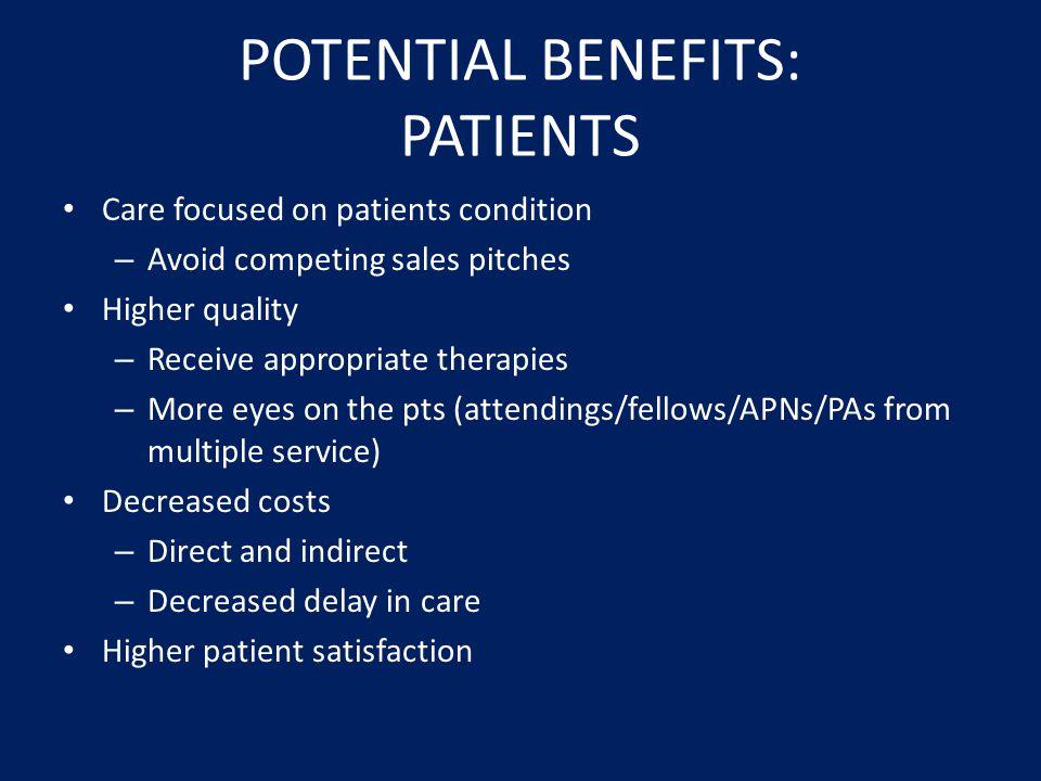 POTENTIAL BENEFITS: PATIENTS