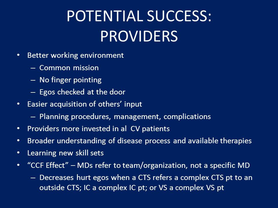 POTENTIAL SUCCESS: PROVIDERS