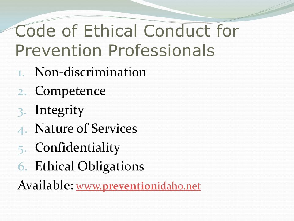 Code of Ethical Conduct for Prevention Professionals