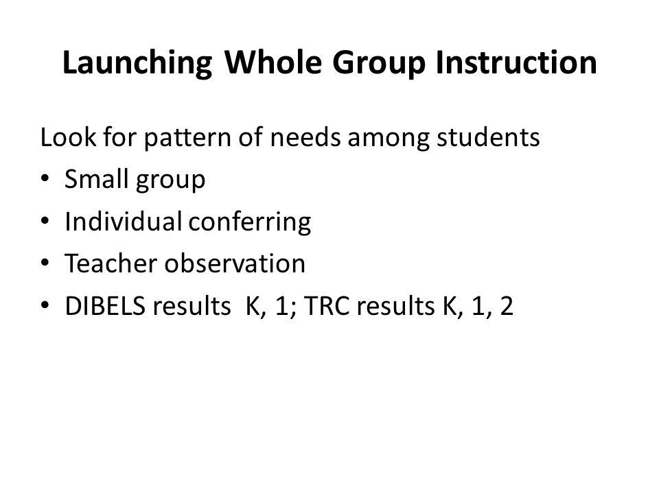 Launching Whole Group Instruction
