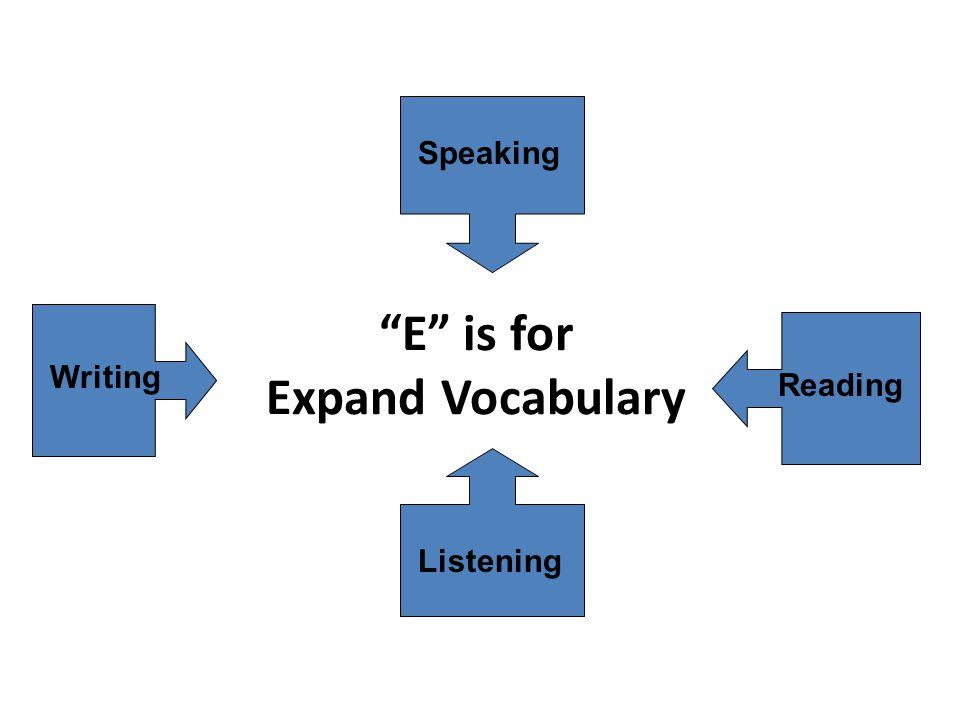 E is for Expand Vocabulary