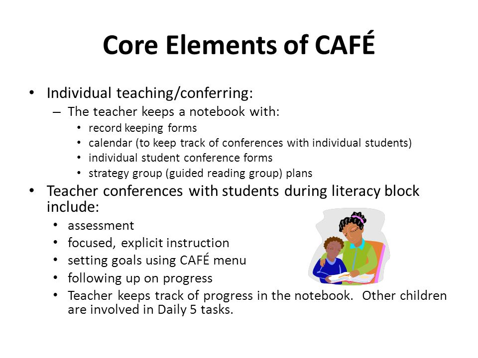 Core Elements of CAFÉ Individual teaching/conferring: