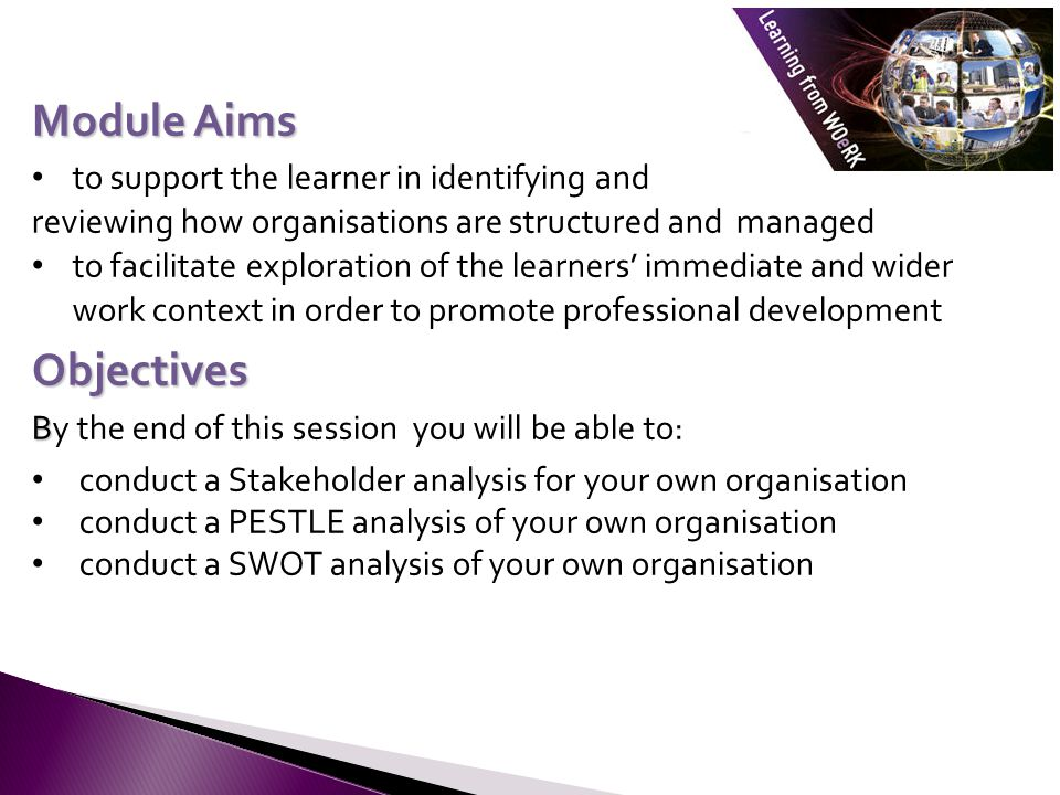 Module Aims Objectives to support the learner in identifying and