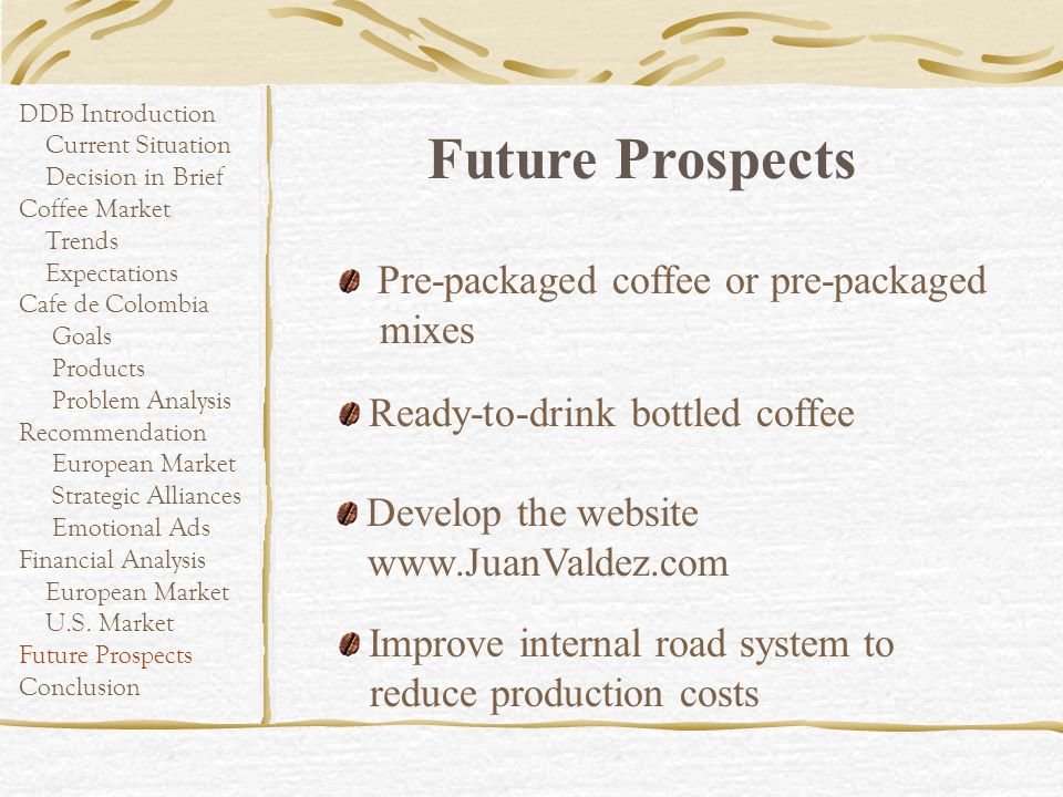 Future Prospects Pre-packaged coffee or pre-packaged mixes