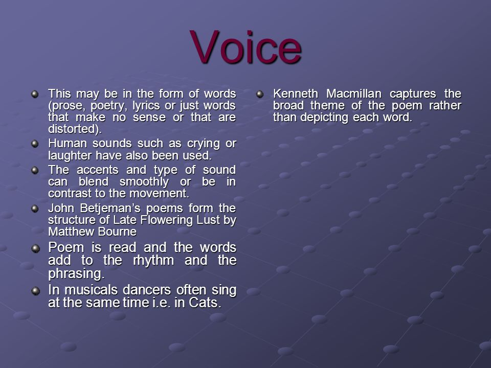 Voice Poem is read and the words add to the rhythm and the phrasing.