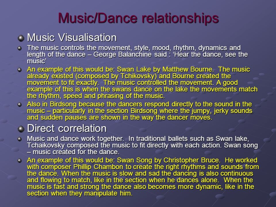 Music/Dance relationships
