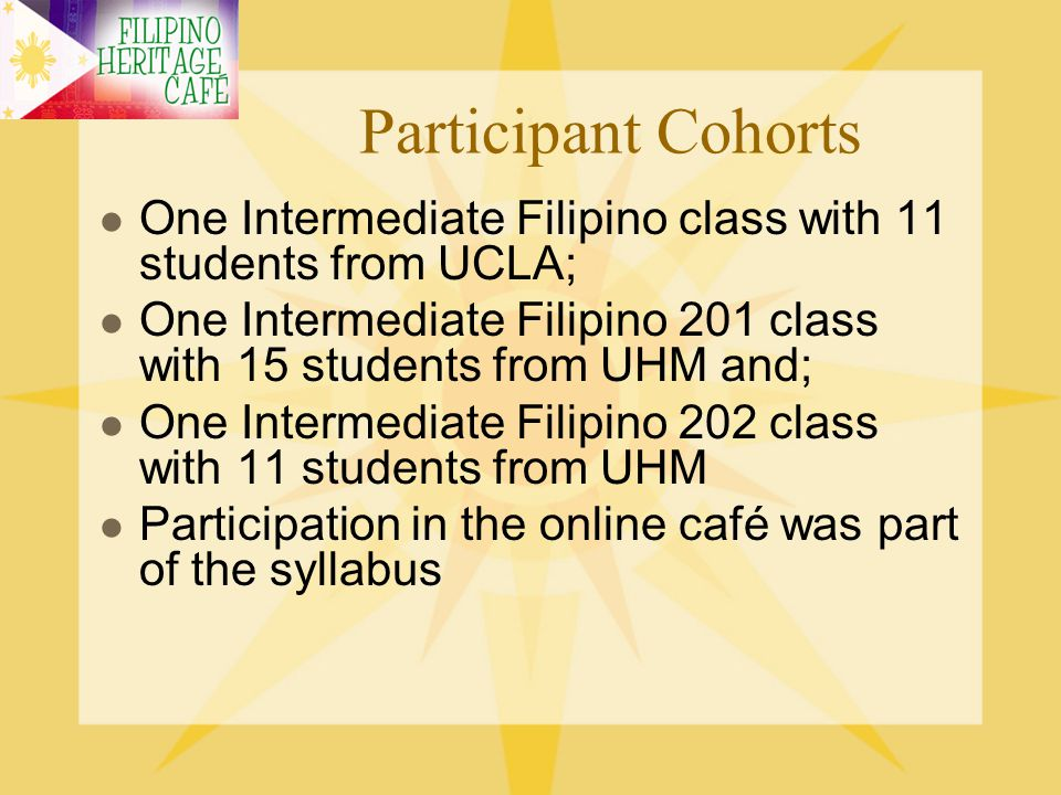 Participant Cohorts One Intermediate Filipino class with 11 students from UCLA; One Intermediate Filipino 201 class with 15 students from UHM and;