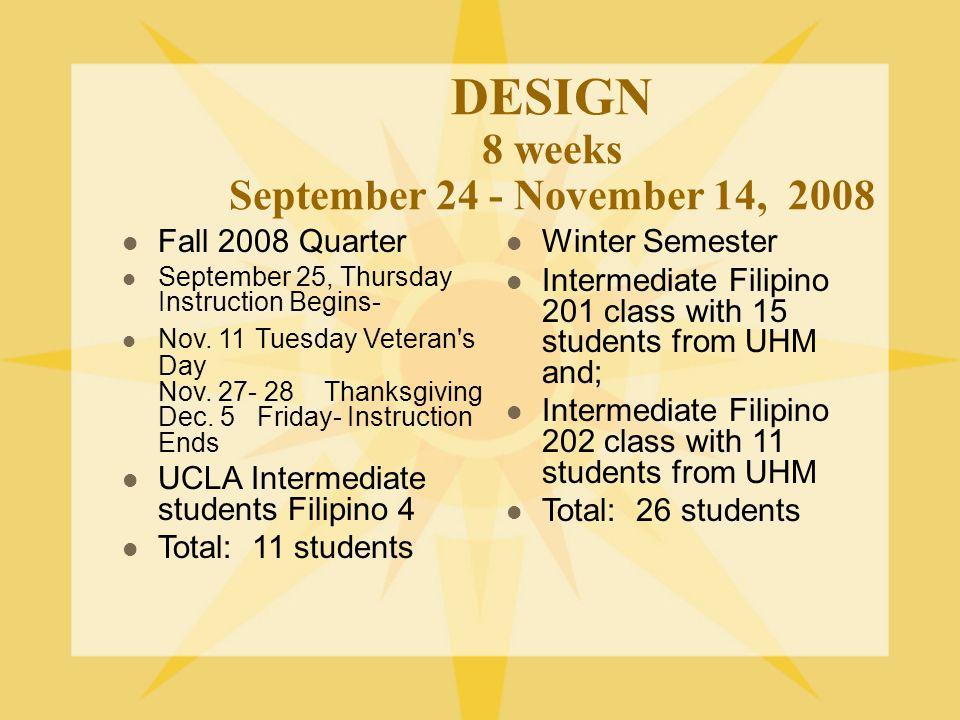 DESIGN 8 weeks September 24 - November 14, 2008