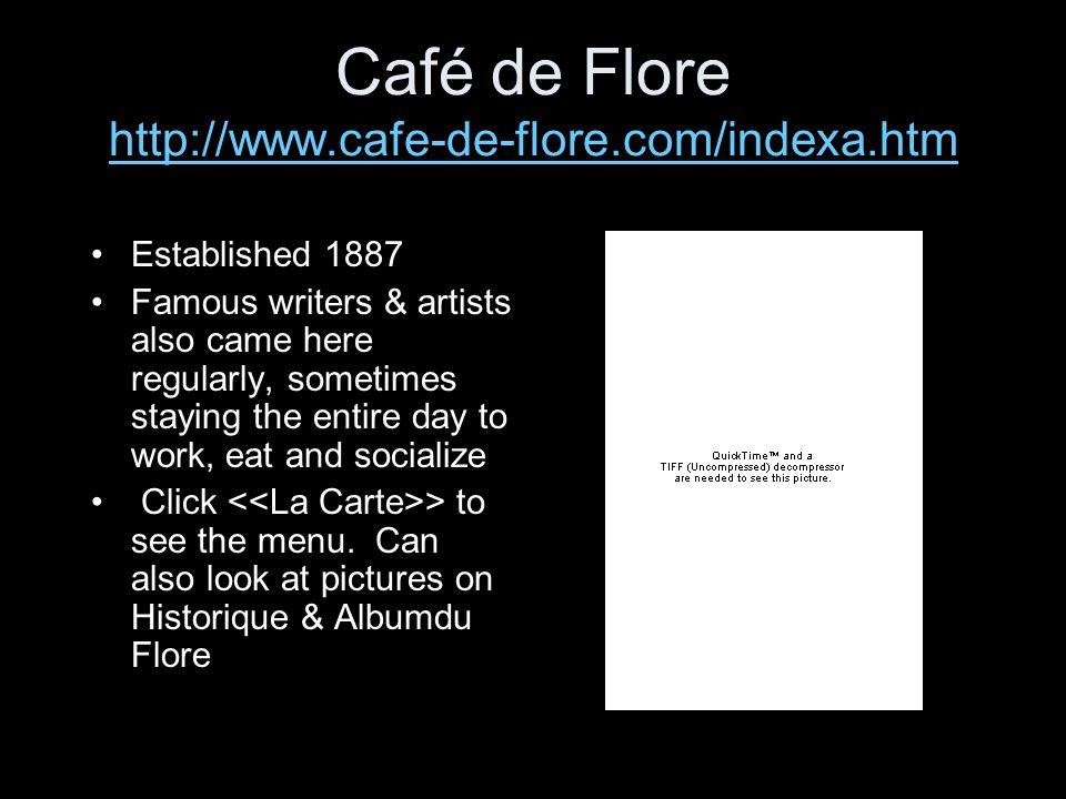 Café de Flore http://www.cafe-de-flore.com/indexa.htm