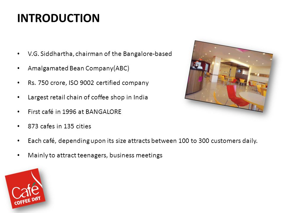 INTRODUCTION V.G. Siddhartha, chairman of the Bangalore-based