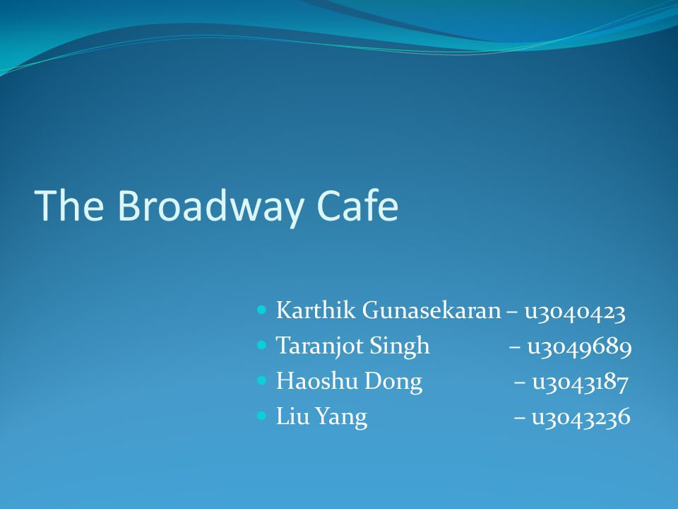 The Broadway Cafe Karthik Gunasekaran – u3040423