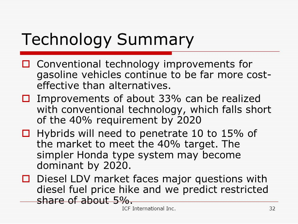 Technology Summary Conventional technology improvements for gasoline vehicles continue to be far more cost-effective than alternatives.