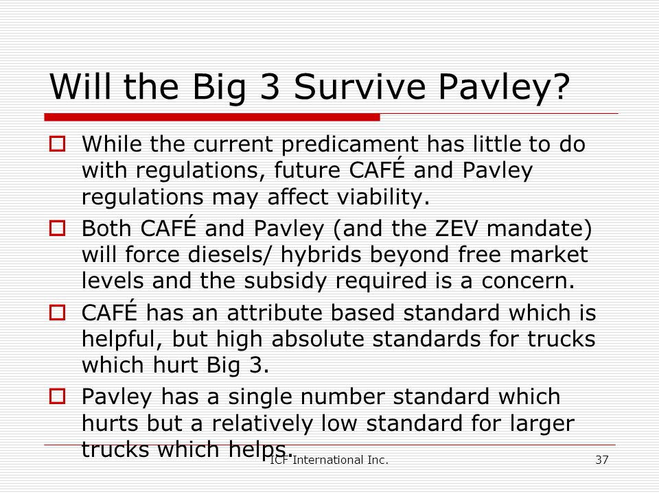 Will the Big 3 Survive Pavley