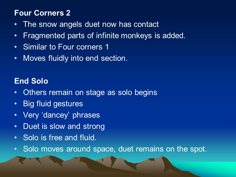 Four Corners 2 The snow angels duet now has contact. Fragmented parts of infinite monkeys is added.