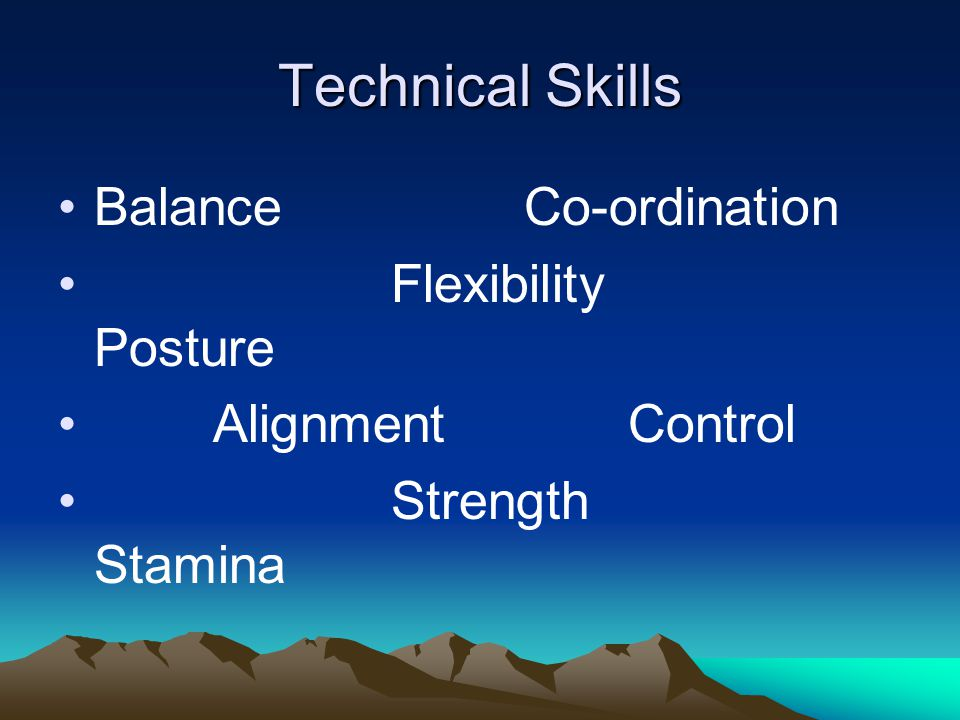 Technical Skills Balance Co-ordination Flexibility Posture