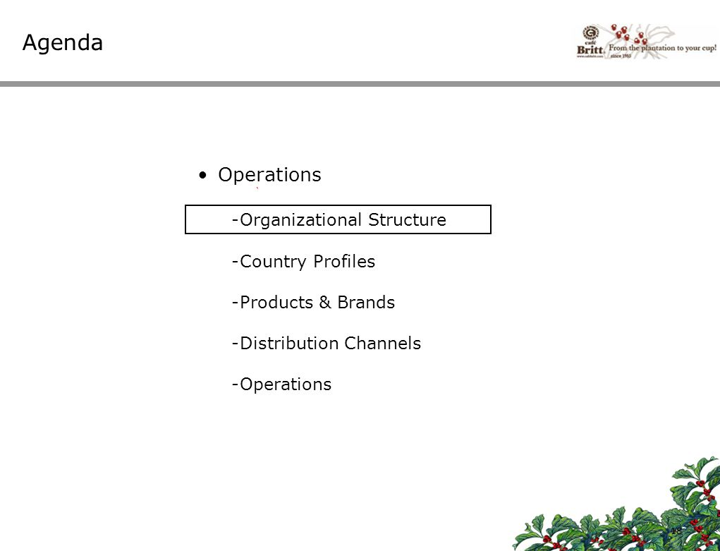 Agenda Operations Organizational Structure Country Profiles