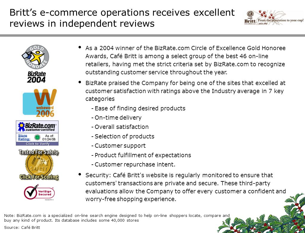 Britt's e-commerce operations receives excellent reviews in independent reviews