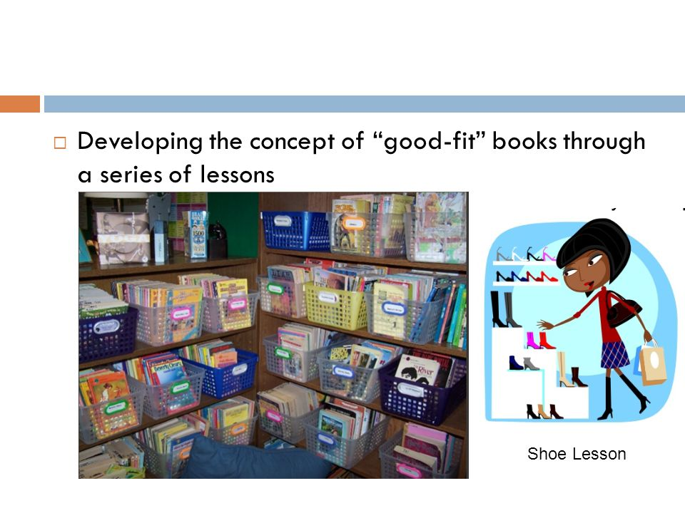 Developing the concept of good-fit books through a series of lessons