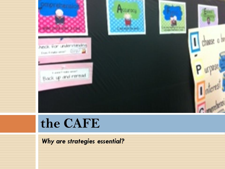 the CAFE Why are strategies essential