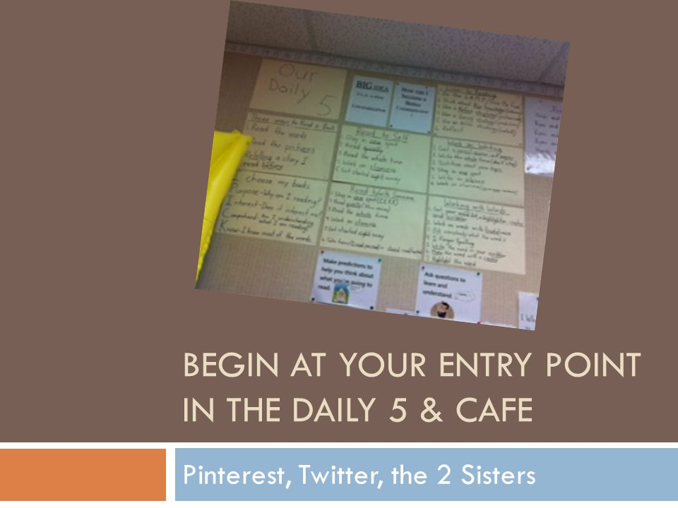 Begin at your entry point in the Daily 5 & CAFE