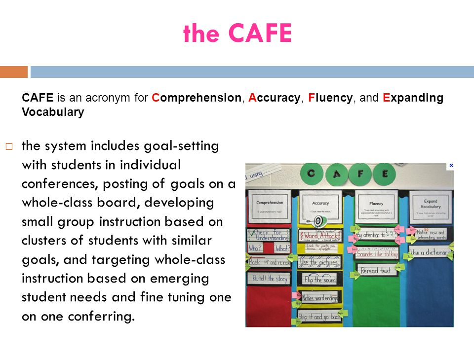 the CAFE CAFE is an acronym for Comprehension, Accuracy, Fluency, and Expanding Vocabulary.