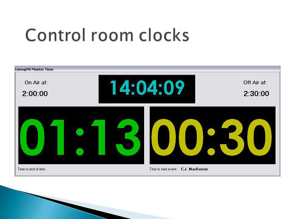 Control room clocks