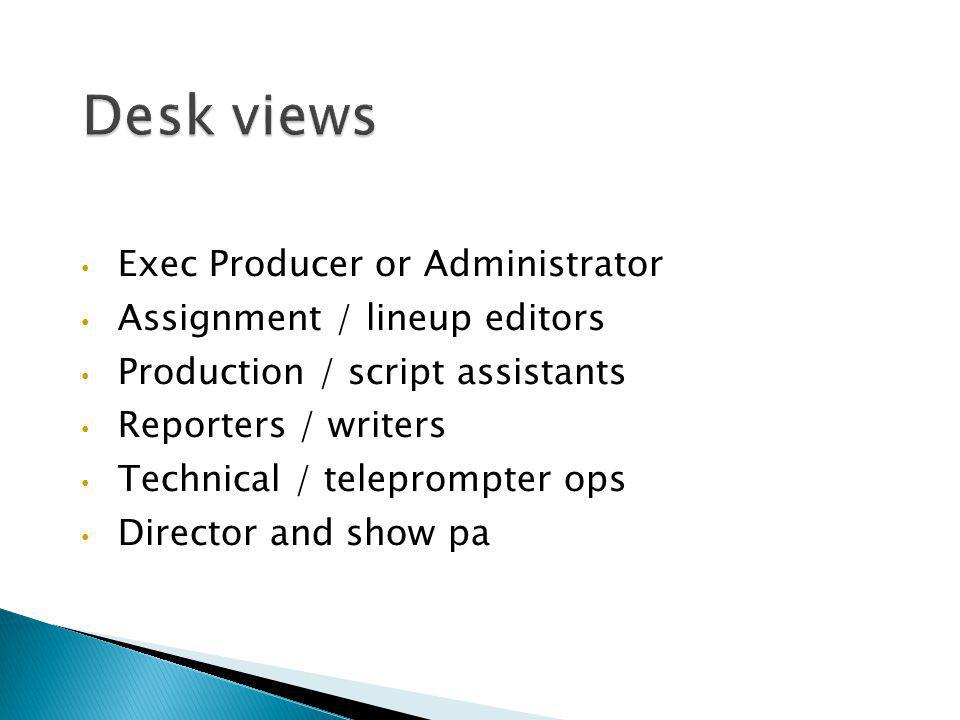 Desk views Exec Producer or Administrator Assignment / lineup editors