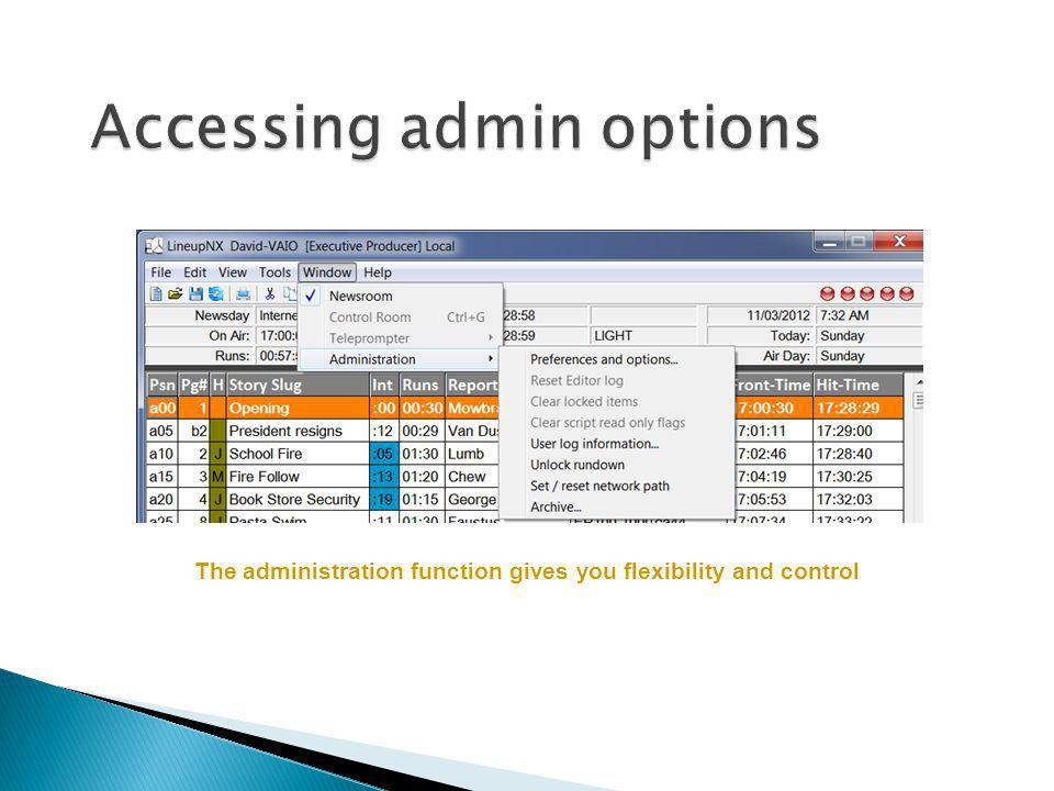 Accessing admin options