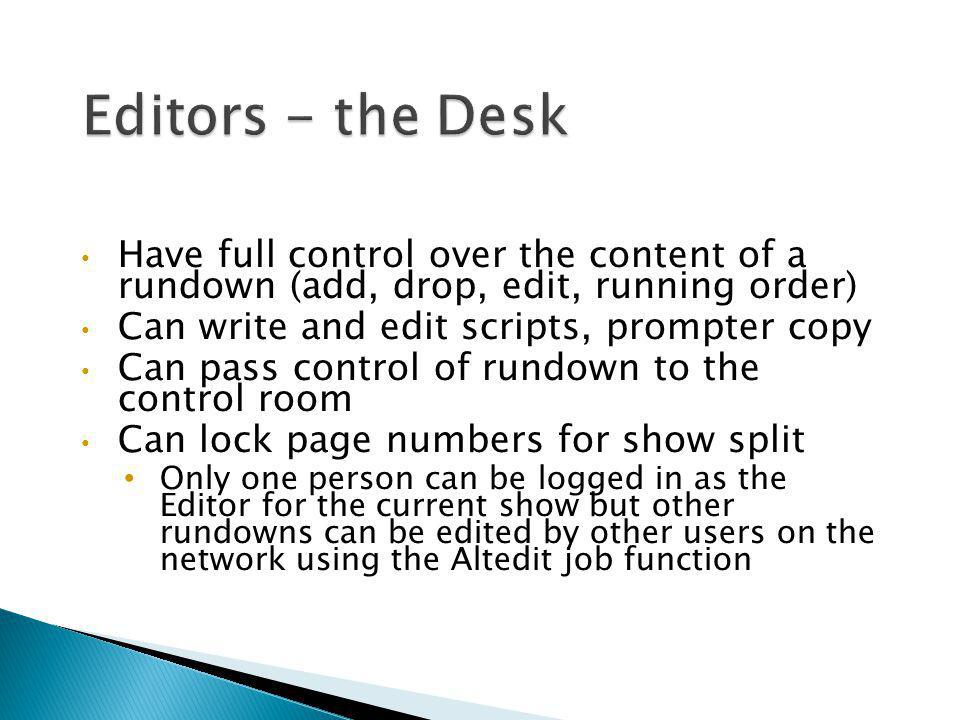 Editors - the Desk Have full control over the content of a rundown (add, drop, edit, running order)