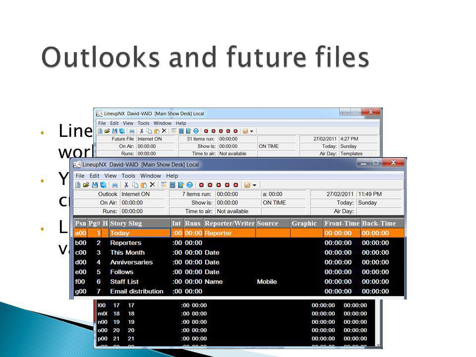 Outlooks and future files