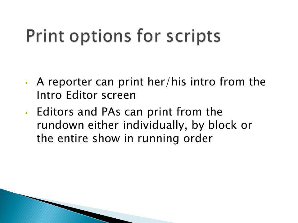 Print options for scripts