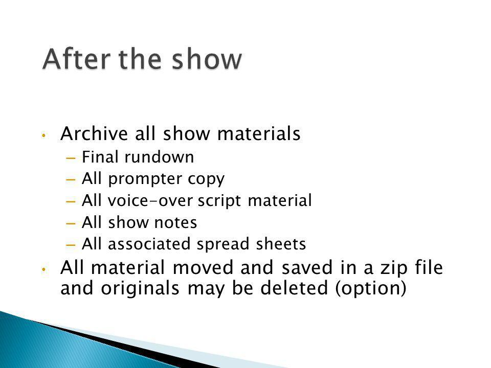 After the show Archive all show materials