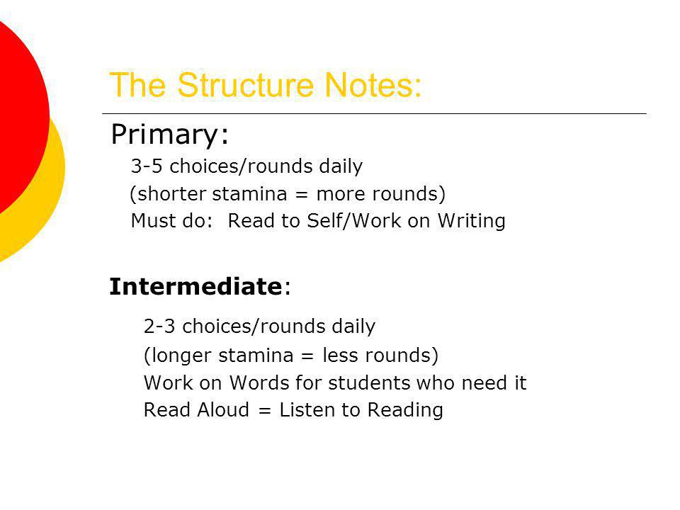The Structure Notes: Primary: 2-3 choices/rounds daily Intermediate: