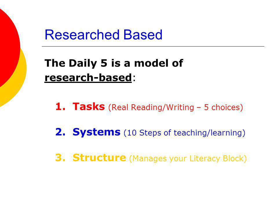Researched Based The Daily 5 is a model of research-based: