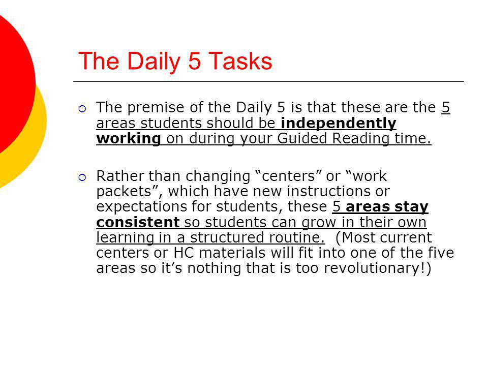 The Daily 5 Tasks