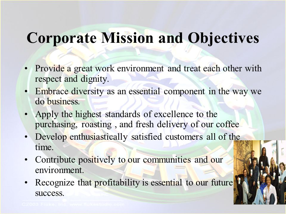 Corporate Mission and Objectives