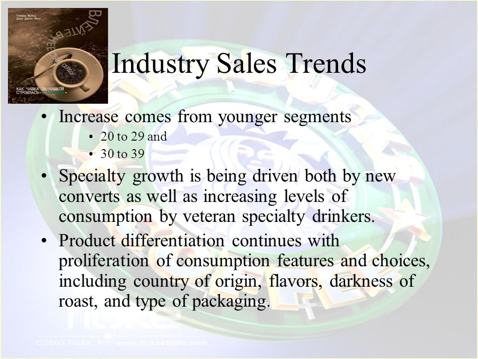 Industry Sales Trends Increase comes from younger segments