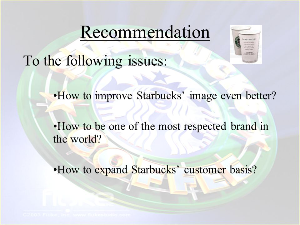 Recommendation To the following issues: