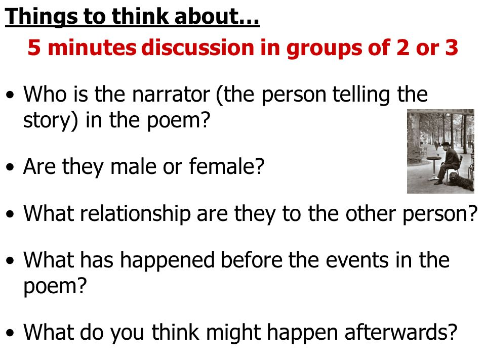 5 minutes discussion in groups of 2 or 3