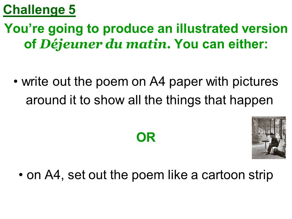 write out the poem on A4 paper with pictures