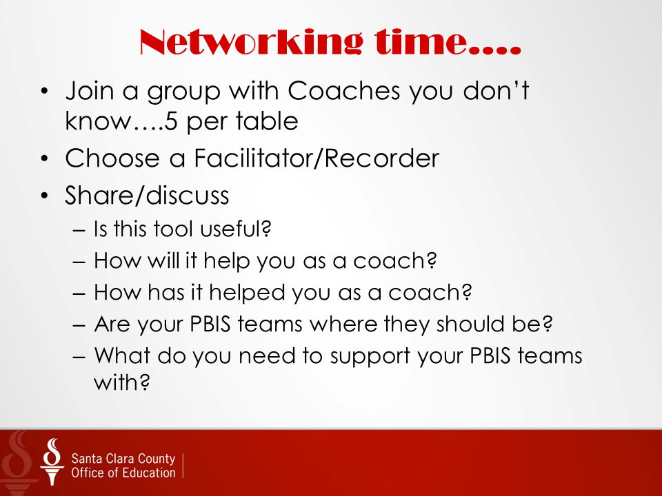 Networking time…. Join a group with Coaches you don't know….5 per table. Choose a Facilitator/Recorder.
