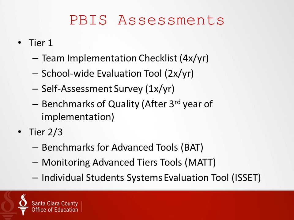 PBIS Assessments Tier 1 Team Implementation Checklist (4x/yr)