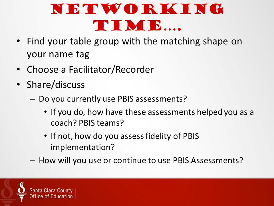 Networking time…. Find your table group with the matching shape on your name tag. Choose a Facilitator/Recorder.