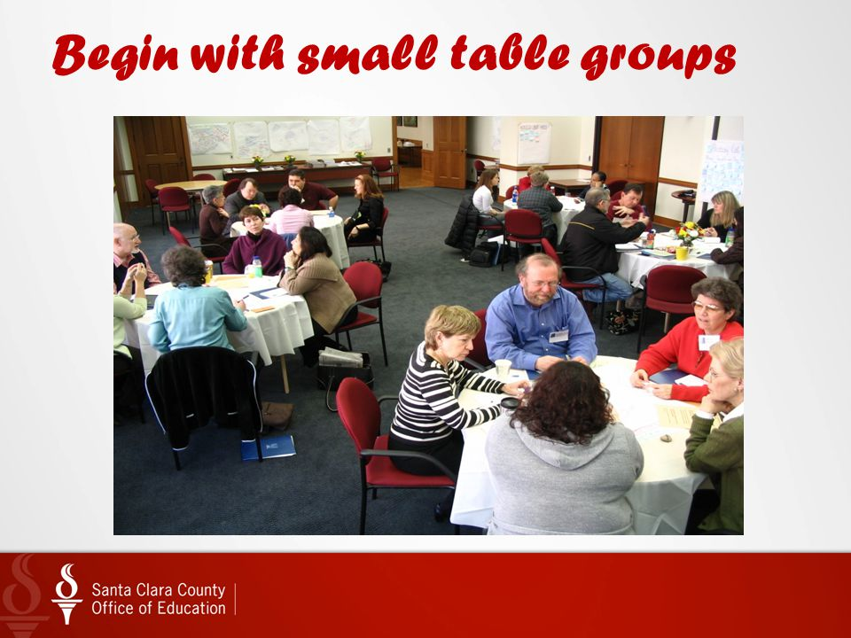 Begin with small table groups
