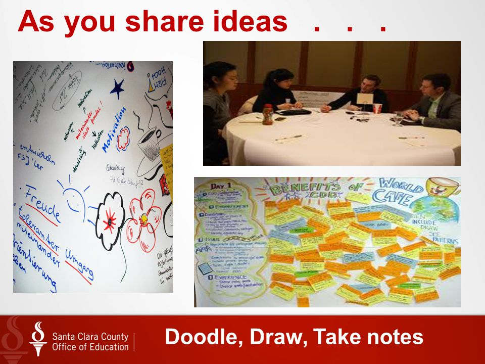 As you share ideas . . . Doodle, Draw, Take notes