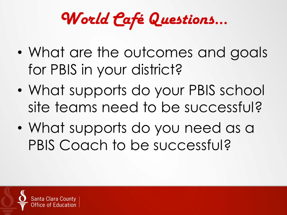 World Café Questions… What are the outcomes and goals for PBIS in your district What supports do your PBIS school site teams need to be successful