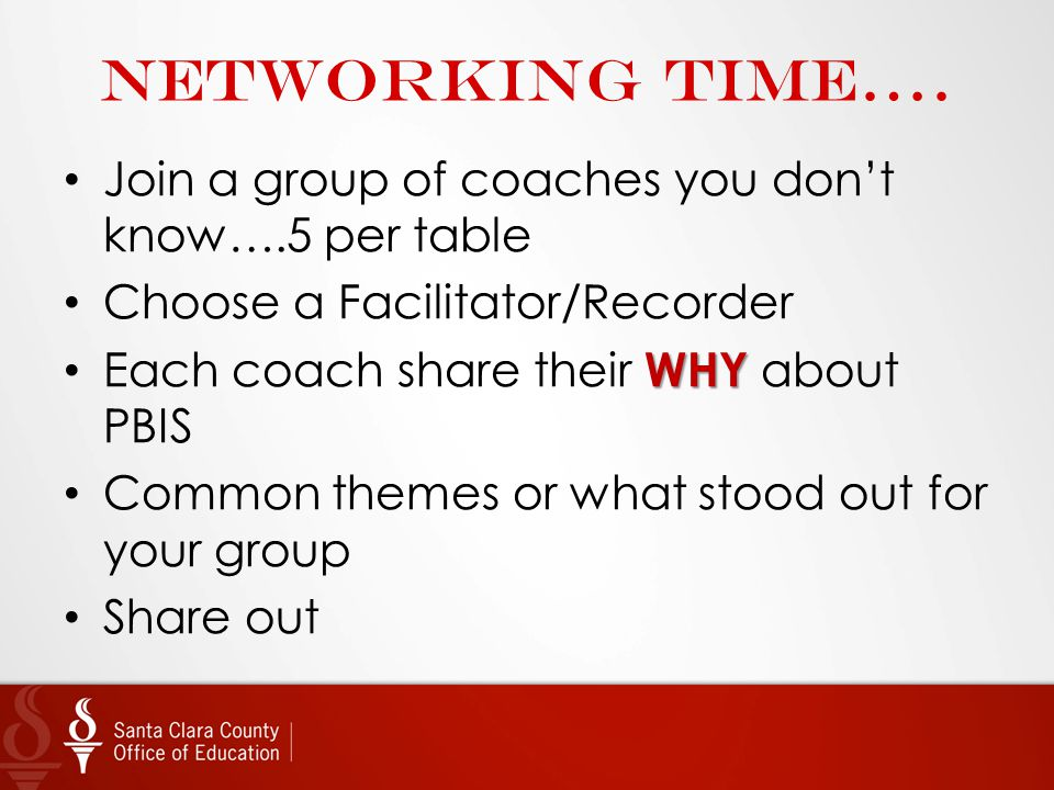 Networking time…. Join a group of coaches you don't know….5 per table