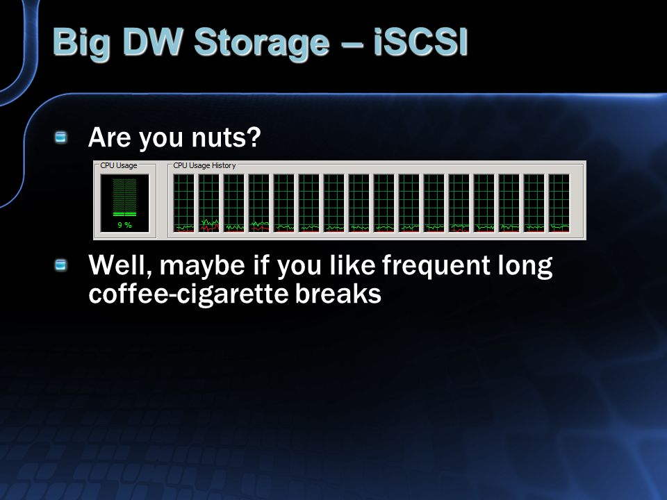 Big DW Storage – iSCSI Are you nuts