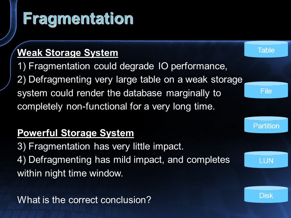 Fragmentation Weak Storage System